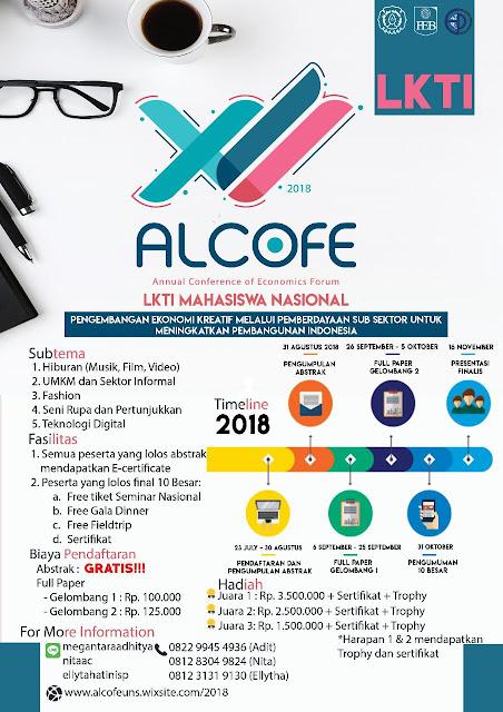 Lomba Karya Tulis Ilmiah Nasional (LKTIN) ALCOFE XII 2018