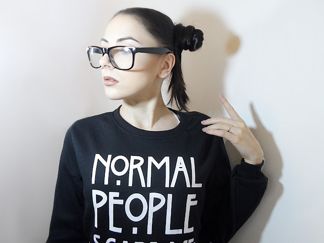 liz breygel blogger zaful Normal People Scare Me Sweatshirt fashion review Zaful girl glasses pics nerd girl hipster