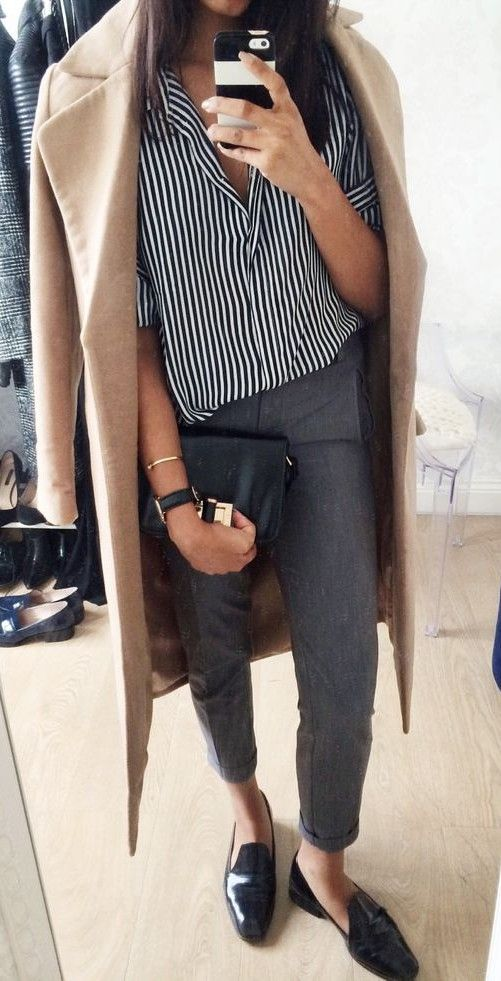 office casual outfit : nude coat + pants + stripped shirt + bag