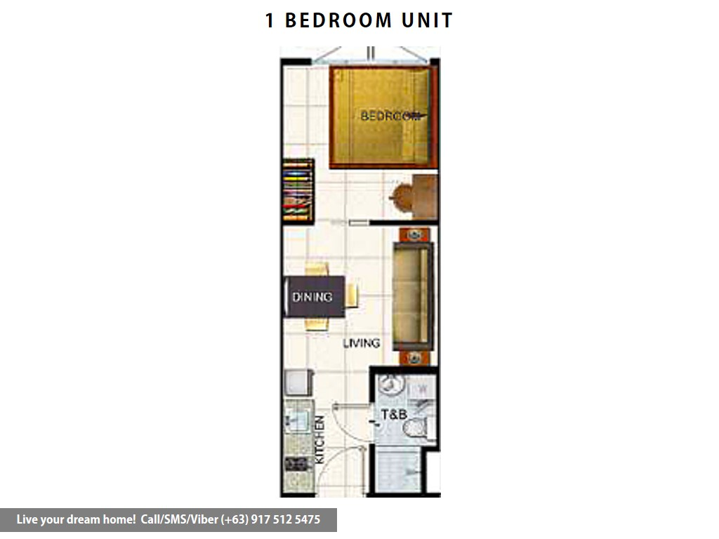 Floor Plan of SMDC Air Residences - 1 Bedroom | Condominium for Sale Makati City