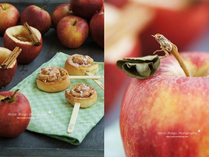 Apfel-Zimt-Schnecken am Stiel mit Apfeltee im Apfel