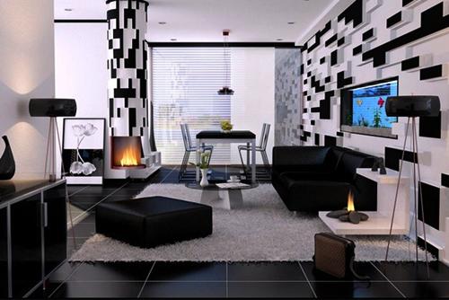Contoh Desain Ruang Tamu Dengan Nuansa Hitam Putih