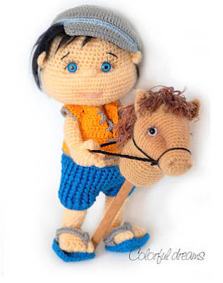 Amigurumi doll, boy with stick horse