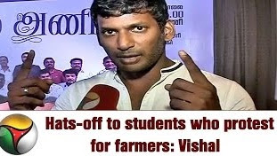 Vishal supports Students protest for Farmers