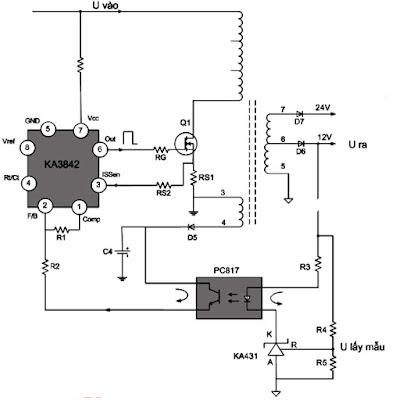 Hình 17 - Mạch hồi tiếp so quang làm nhiệm vụ giữ cho điện áp ra cố định khi điện áp vào thay đổi hoặc khi dòng tiêu thụ thay đổi.