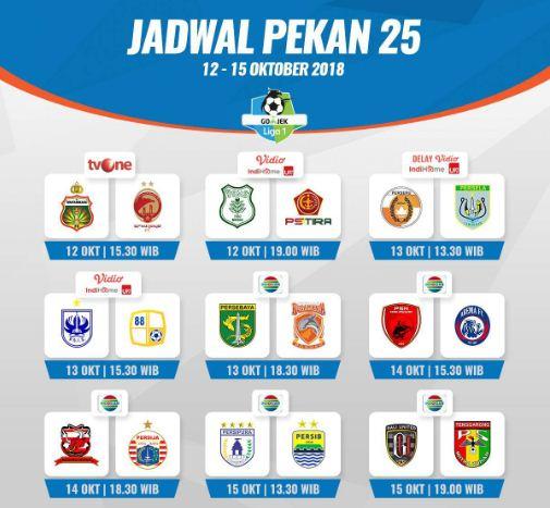 Jadwal Liga 1 Pekan ke-25 Jumat-Senin 12-15 Oktober 2018