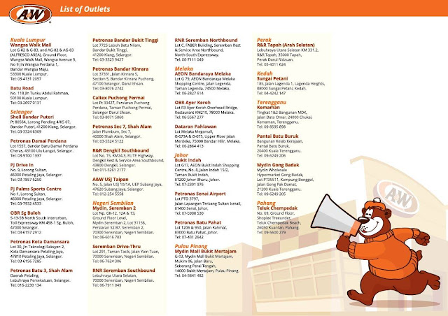 A&W Malaysia Outlet Location / Store Locator