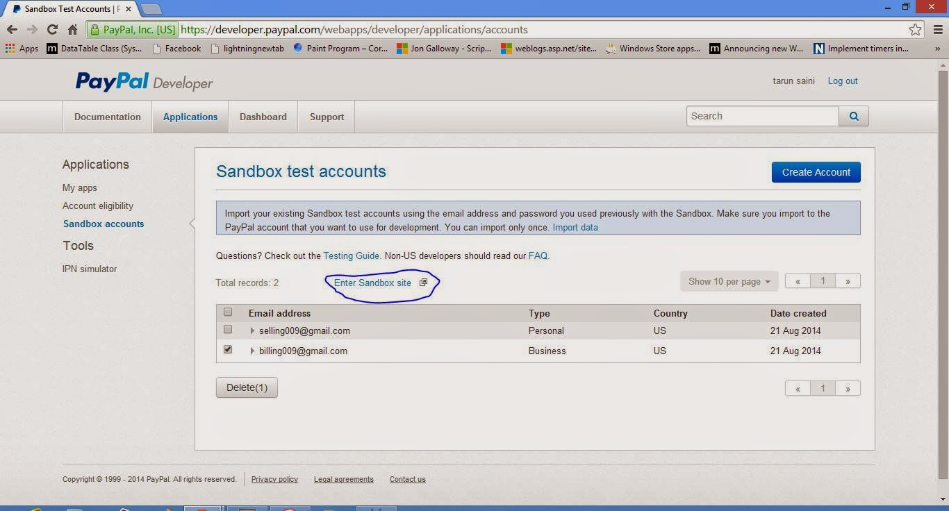 Create a new account for Personal in paypal