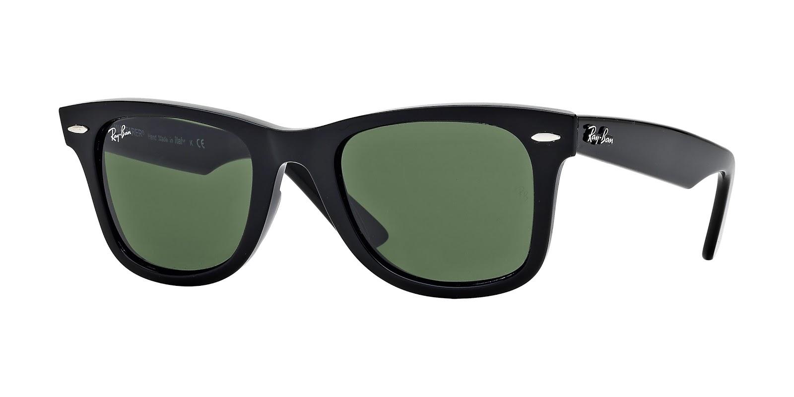 Entre as opções de óculos de sol Wayfarer estão preto ou branco, com uma  variedade de tratamento de lentes, incluindo o cristal verde, cristal  cinzento ... 245121c8e8