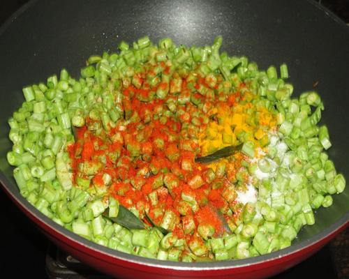 chilli powder, turmeric powder and salt added