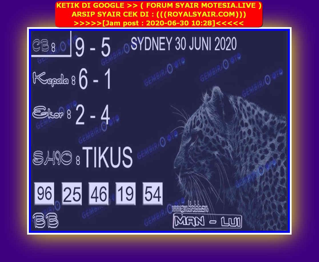 Kode syair Sydney Selasa 30 Juni 2020 151