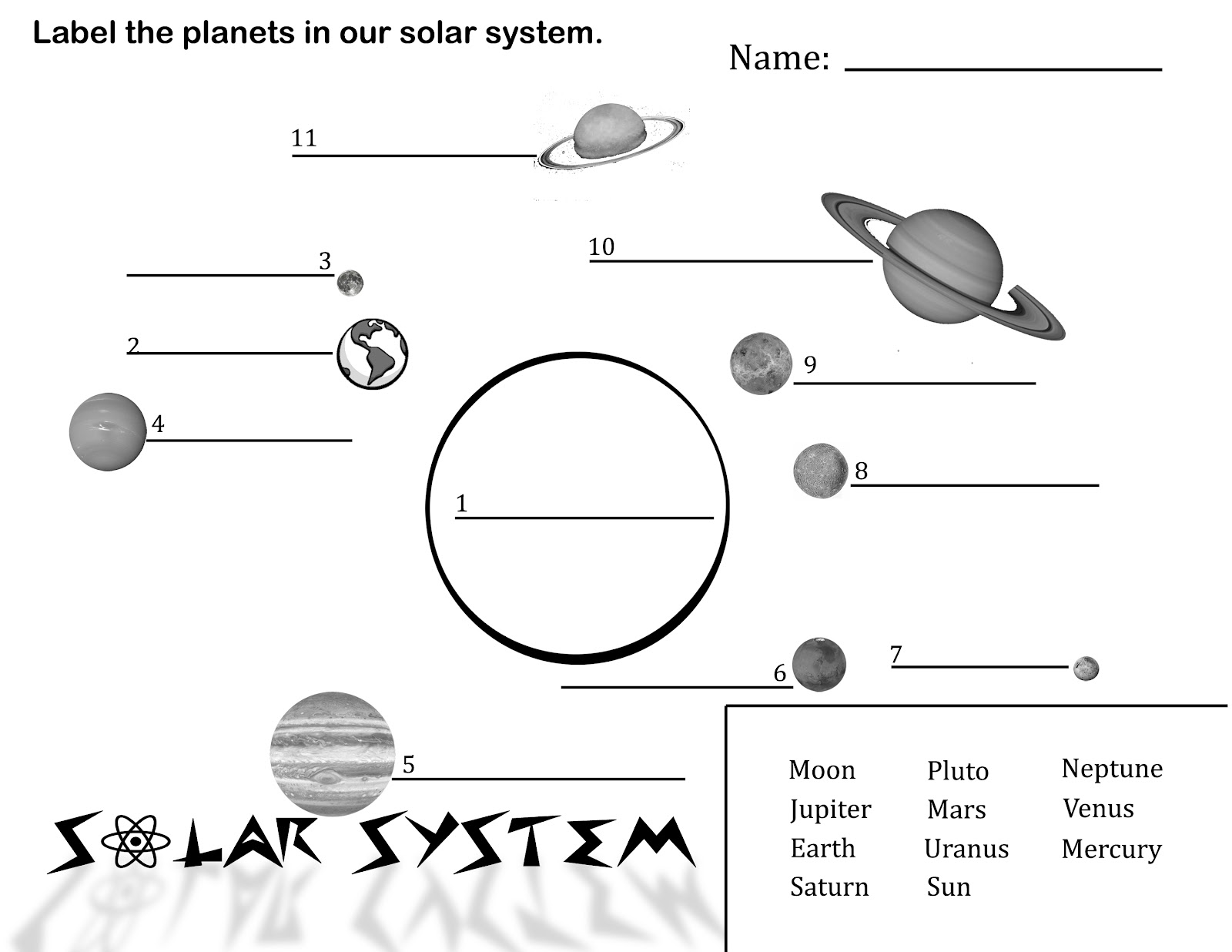 The Solar System Worksheet For Year 4