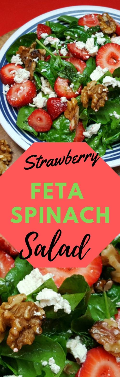 Strawberry Feta Spinach Salad #SALAD #STRAWBERRY #DINNER