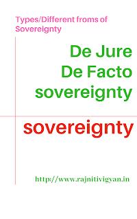 संप्रभुता के प्रकार विविध रूप De Jure and De Facto विधितः और तथ्यः