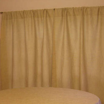 Showroom Burlap Curtain With Table Cloth