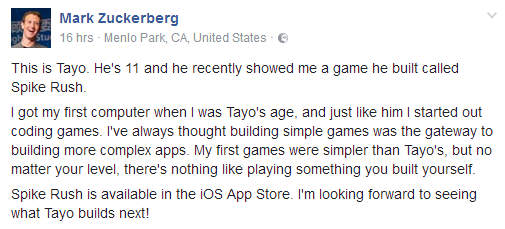Mark Zuckerberg shares photo of 11 year old Nigerian boy who built a game