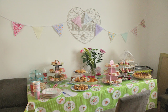 vintage neutral afternoon tea themed baby shower buffet