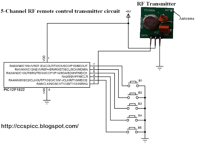433MHz radio frequency RF transmitter circuit using PIC microcontroller