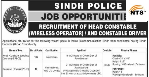 NTS Announced Jobs In Sindh Police For The Post Of Constable And Head Constable 2019