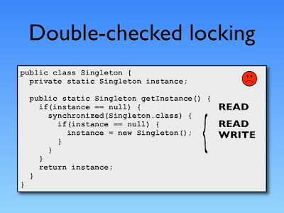 Double checked locking without volatile variable