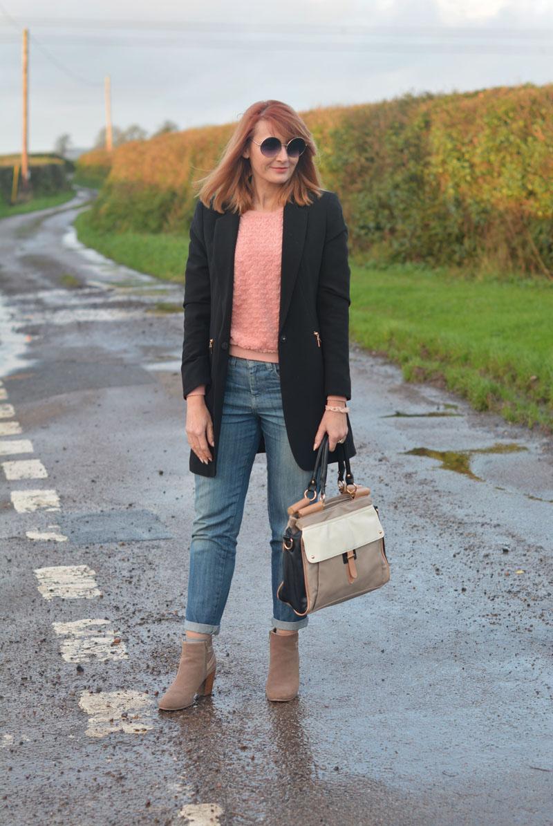 Longline black blazer, boyfriend jeans, suede booties