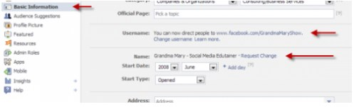 how to change your facebook fan page url name