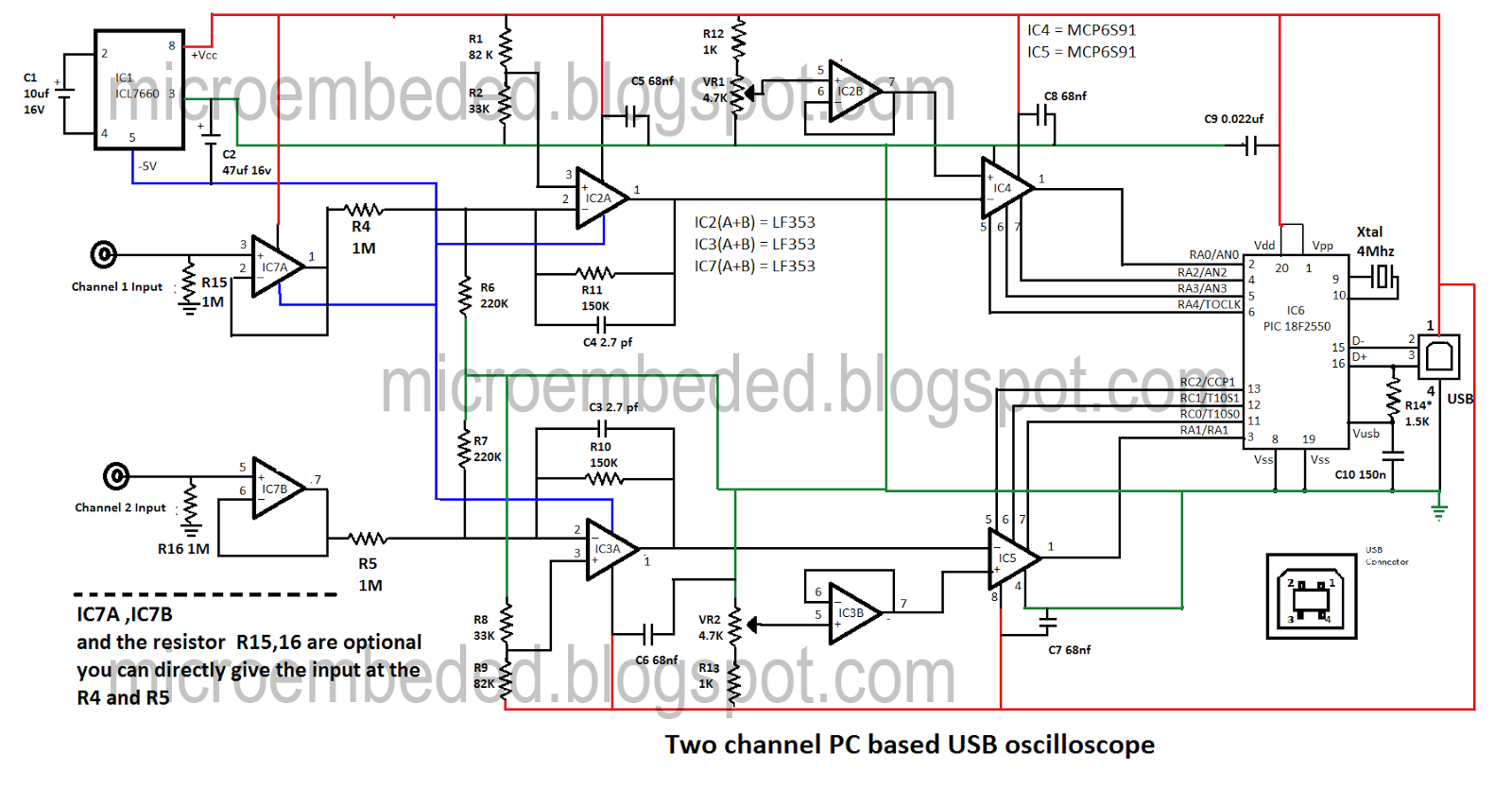 embedded engineering two channel pc based oscilloscope usbusb oscilloscope schematic 6 [ 1600 x 835 Pixel ]