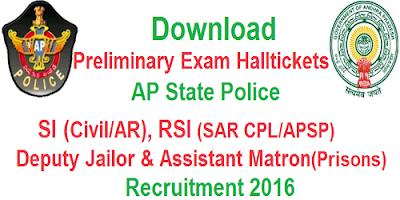 AP SI RSI Deputy Jailor prelims Halltickets