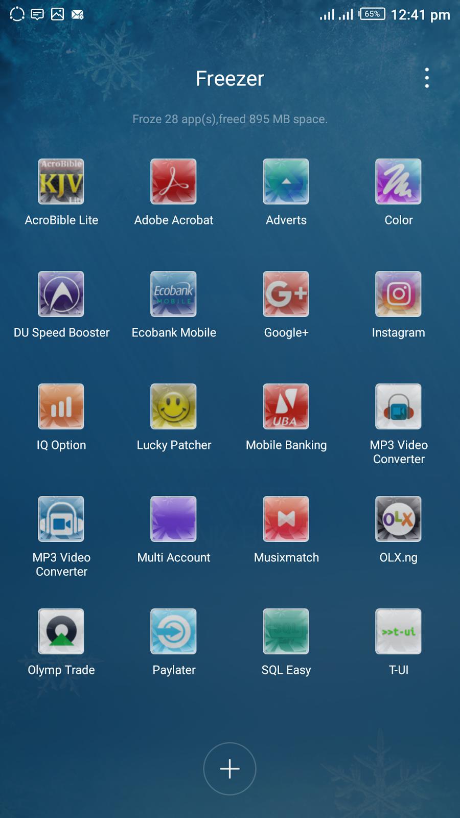 XOS app freezer main menu