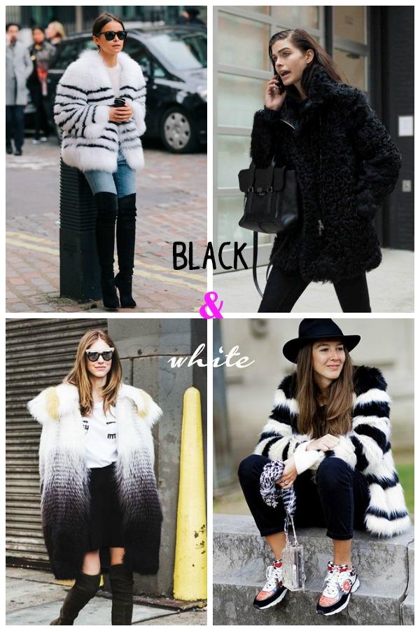 look-abrigo pelo-blanco y negro