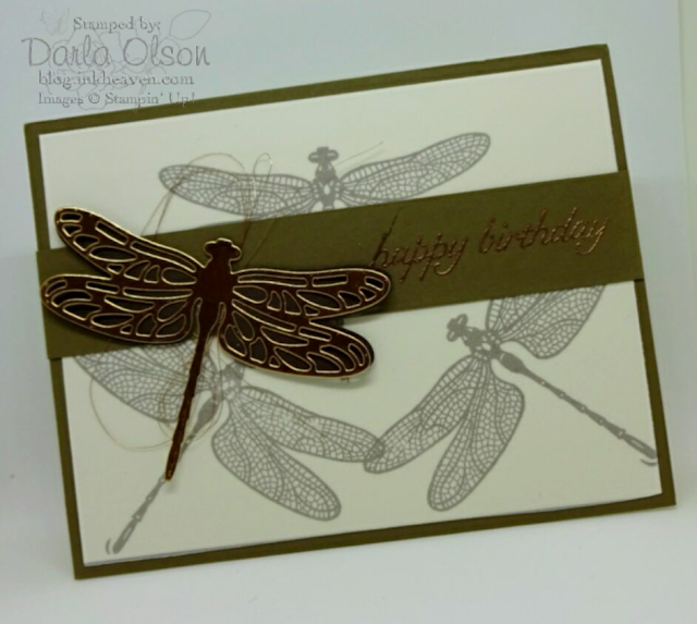 Vellum mutes soft suede background dragonflies while detailed dragonfly stands out in front with a pop of copper shared by Darla Olson at inkheaven