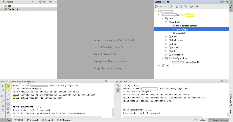 PublishingFirstAndroidApp: Debug SHA-1 fingerprint certificate of ...