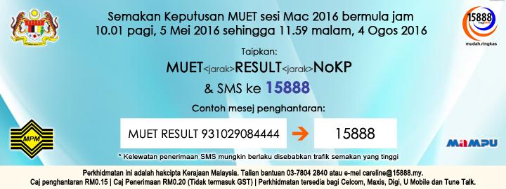 Keputusan MUET Mac 2016 Online Dan SMS