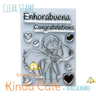 wedding couple clear stamp set with bilingual sentiments