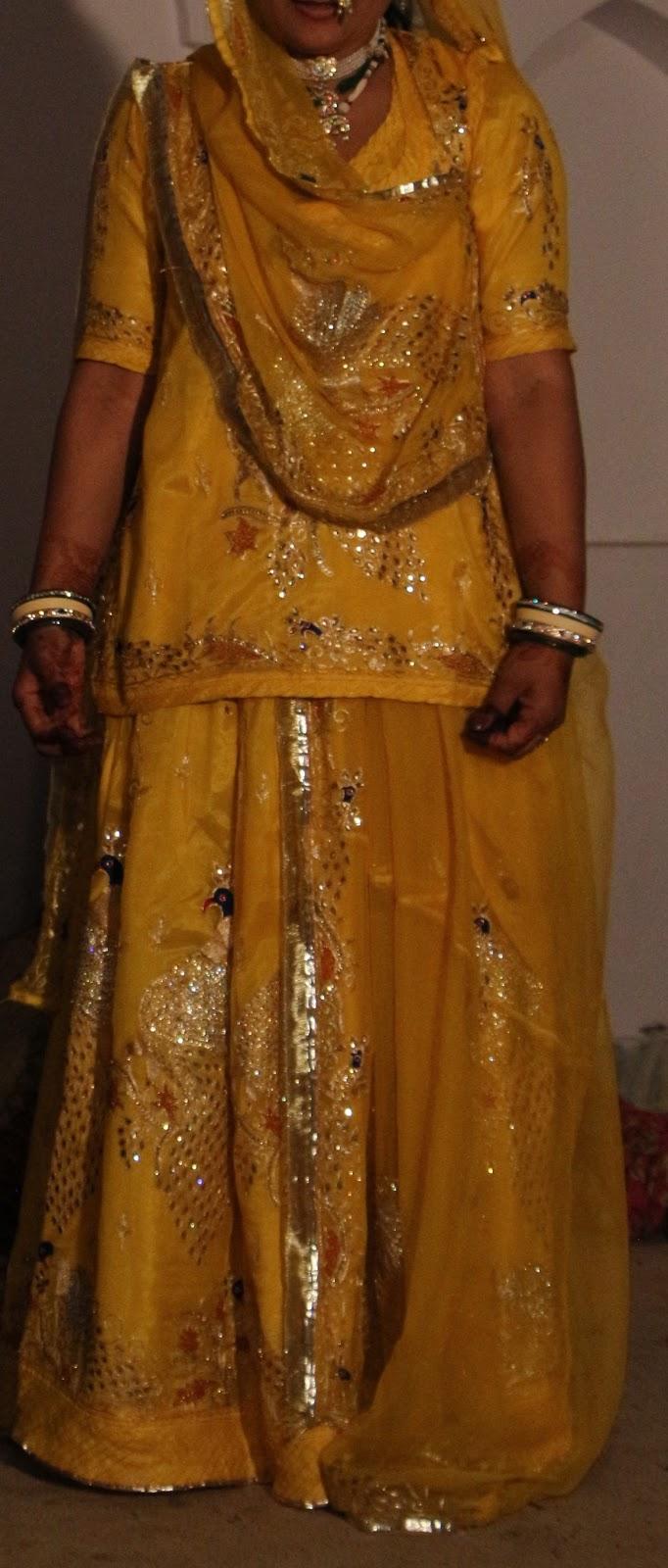 Innovative Traditional Rajputi Poshaake Yellow Kundan Rajputi Poshaak Dark Pink