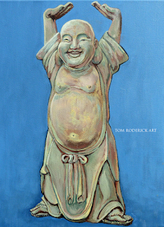 Standing Happy Buddha by Boulder artist Tom Roderick