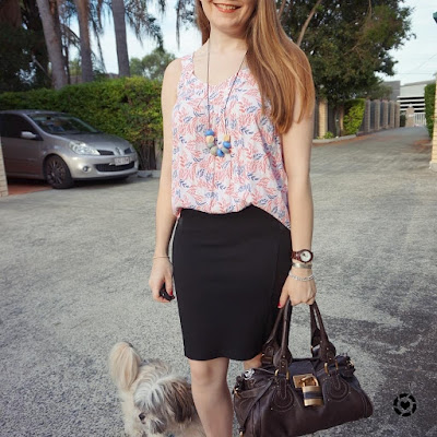 awayfromblue instagram boho leaf print tank in office black pencil skirt chloe paddington bag