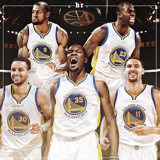 Golden State Warriors 2016-2017: Curry (30), Iguodala (9), Durant (35), Green (23), Thompson (11)