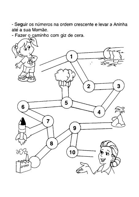 Atividade com numerais e labirinto para o Dia das Mães  Seguir os números na ordem crescente riscando com giz de cera.