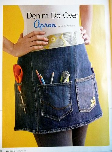 avental jeans com bolso, reciclar jeans