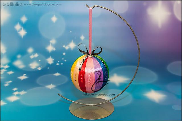 624. Bombka ze wstążki / Ribbon christmas bauble