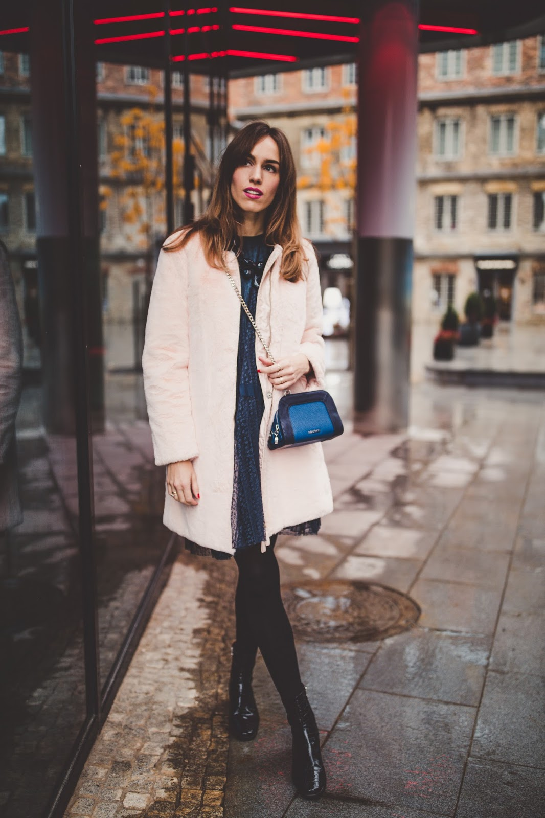 pink teddy coat dress outfit