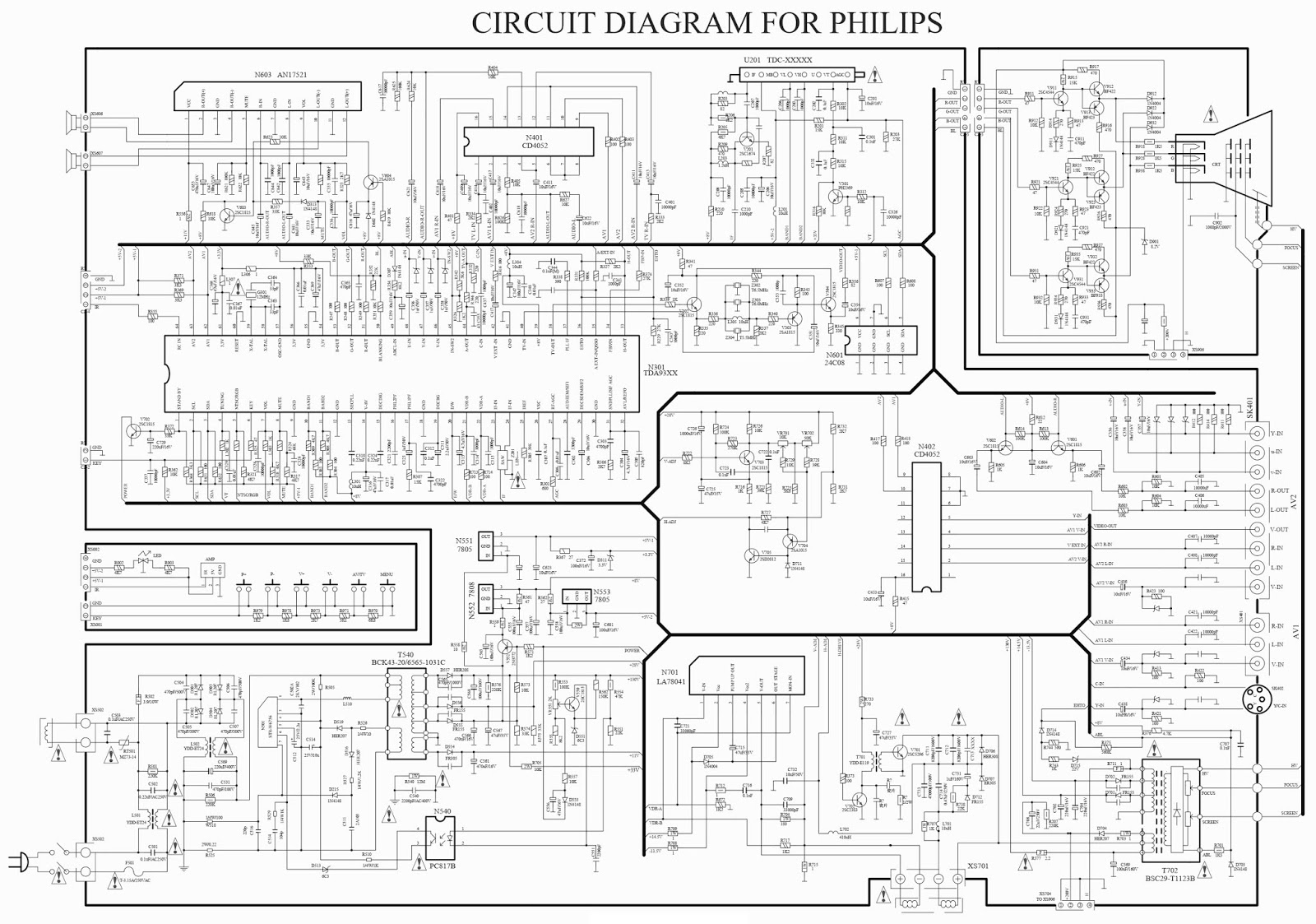 Electronic Inspirations: Philips color TV circuit diagram