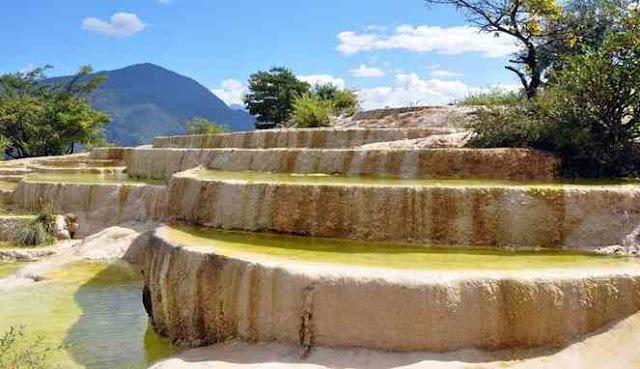 Tampak dari dekat teras batu kapur Baishuitai