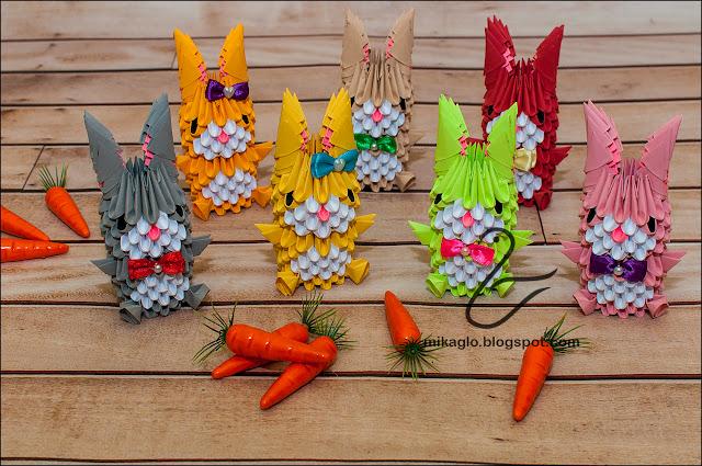 654. Króliczki z origami / 3d origami bunnies