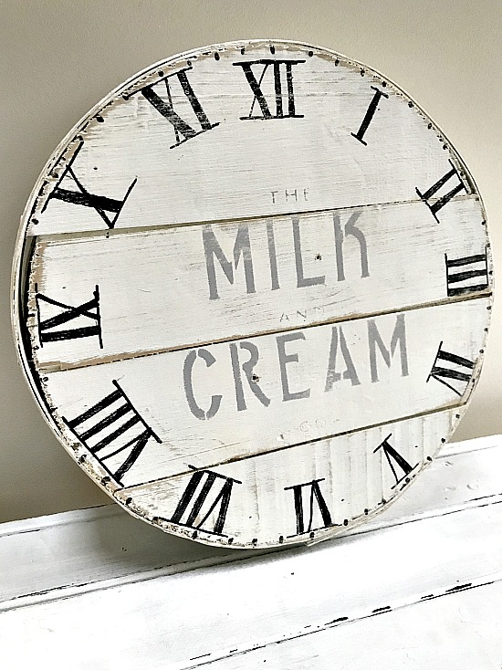 distressed clock face on a vintage cheese box