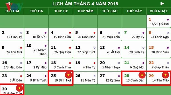 Lịch nghỉ lễ 30/4, 1/5 và giỗ Tổ Hùng Vương năm 2018