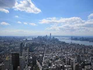 View of Manhattan from top of Empire State Building looking toward Freedom tower.