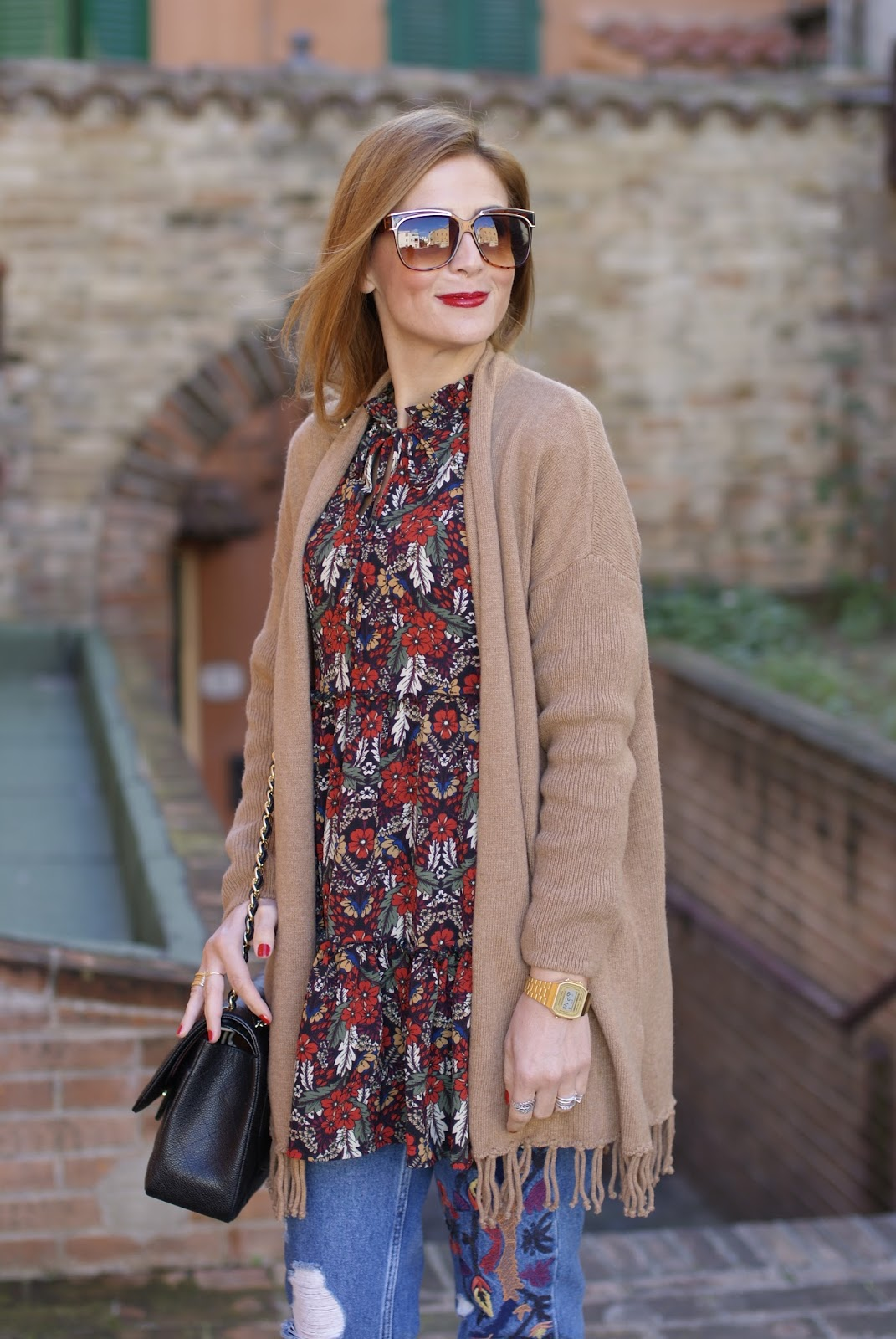 1.2.3 Paris fringed camel cardigan, Glamorous dress on Fashion and Cookies fashion blog, fashion blogger style
