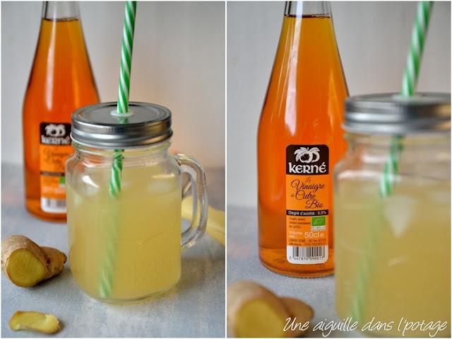 Switchel, boisson gingembre, vinaigre de cidre et sirop d'agave